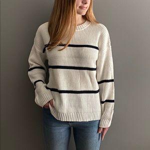 POL Ivory Sweater with Navy Stripes